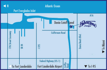 Map to Harbour Towne Marina, Atlantic Ocean, Port Everglades Inlet